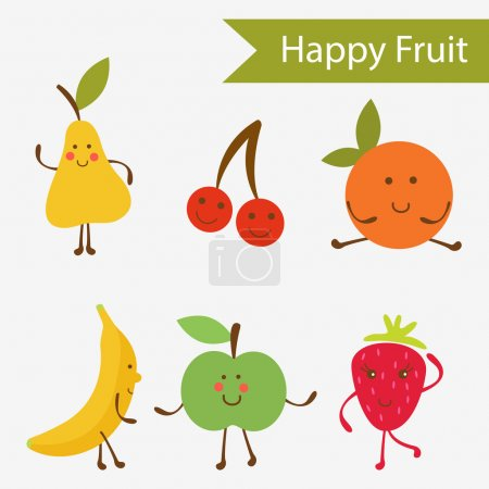 Illustration for Happy fruit characters collection - Royalty Free Image