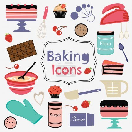Colorful collection of baking items