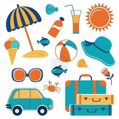 Illustration for Summer vacation icons colorful set - Royalty Free Image