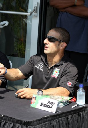 Race Car Driver Tony Kanaan Signing Autograph at INDY 500 Community Day