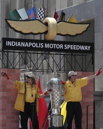 Indy 500 Borg-warner trophy on IMS Float during Indy 500 Festival Parade