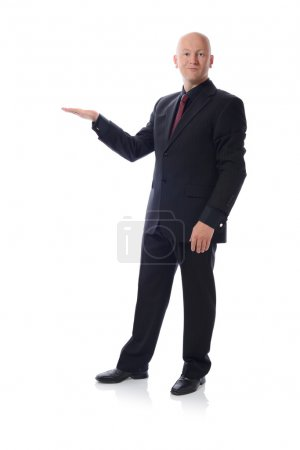 man in suit holding copy space