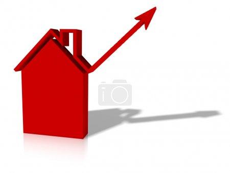Photo pour Graphique de la croissance dans le logement ou la construction - image libre de droit