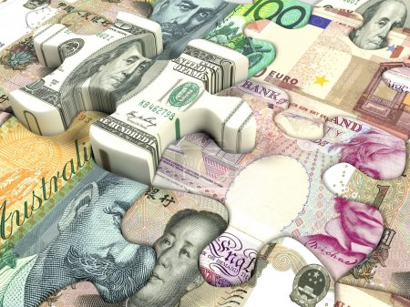 Photo pour Contexte conceptuel du taux de change de la monnaie mondiale - image libre de droit