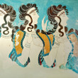 Ancient fresco from Knossos palace at Crete, Greece. Knossos Palace, is the largest Bronze Age archaeological site on Crete and the ceremonial and political centre of the Minoan civilization.