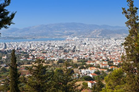 Volos city as it is seen from Portaria of Pelion in Greece