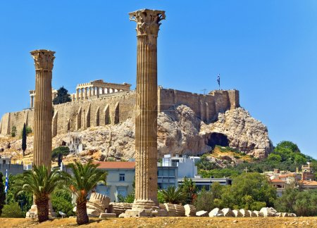 Photo for Temple of the Olympian Zeus and the Acropolis in Athens, Greece - Royalty Free Image