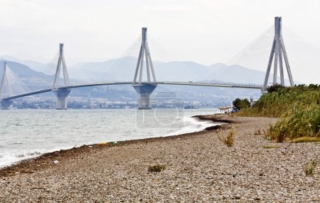 Cable stayed bridge at Patra city in Greece