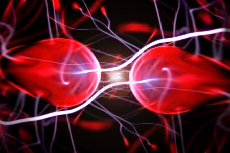Two particles ready to collide to one another