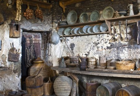 Old traditional kitchen inside a Greek monastery a...