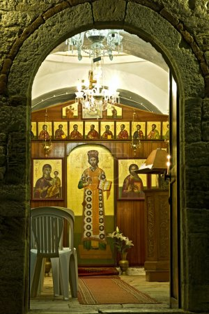 Old orthodox church entrance in Greece