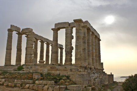 Temple of Poseidon at cape sounio in Greece