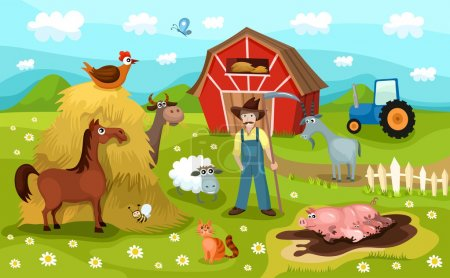 Illustration for Illustration of a farm life - Royalty Free Image