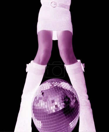girls legs and glitterball