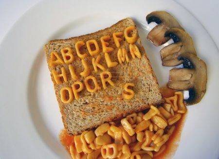alphabet written on toast
