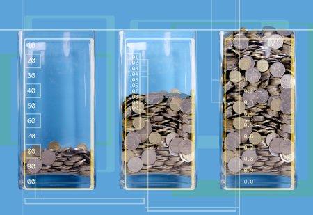 Three jar of coins like a diagram