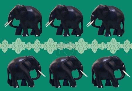 Black figurines of an elephants