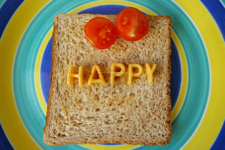 happy word on toast
