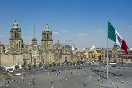 Photo for The zocalo in mexico city, with the cathedral and giant flag in the centre - Royalty Free Image