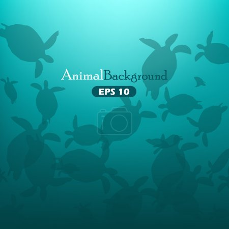 Animal background with turtles