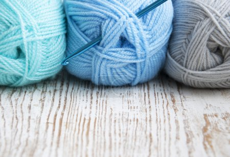 Crochet hook and knitting yarn