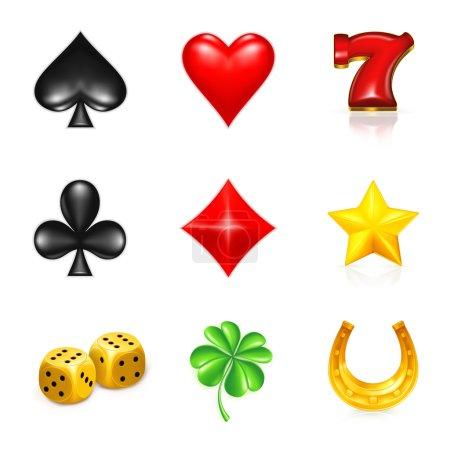 Illustration pour Jeu et chance, jeu d'icônes - image libre de droit
