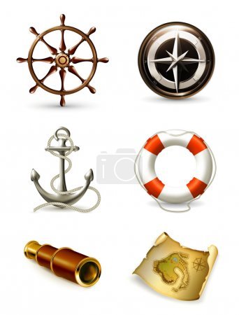 Illustration for Marine set, high quality icons 10eps - Royalty Free Image