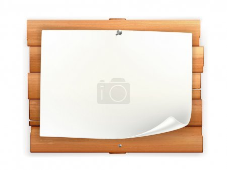Illustration for Announcement on wooden board - Royalty Free Image
