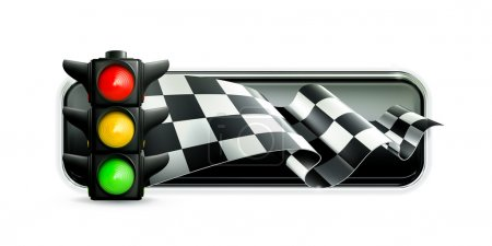 Racing banner with traffic lights