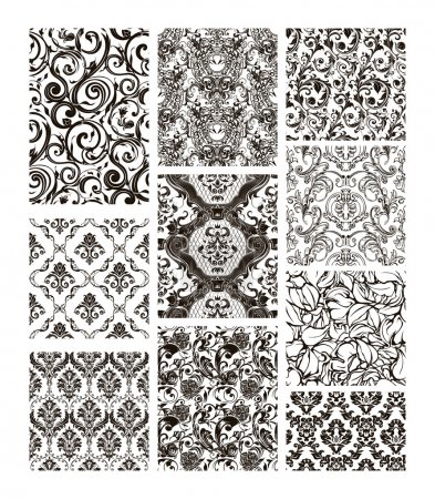 Illustration for Set of ten patterns, black silhouettes - Royalty Free Image