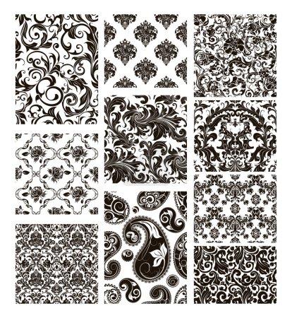 Illustration pour Ensemble de dix motifs, silhouettes noires - image libre de droit
