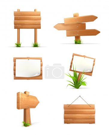 Illustration for Wooden signs set - Royalty Free Image