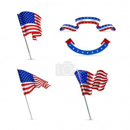 American flags, set