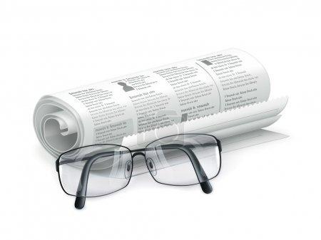 Illustration pour Journal et verres - image libre de droit