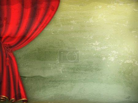 Illustration pour Rideau de théâtre, vecteur à l'ancienne - image libre de droit