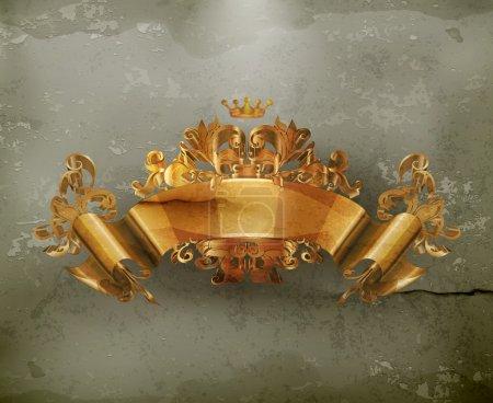 Illustration pour Ruban d'or emblème vintage, vecteur à l'ancienne - image libre de droit