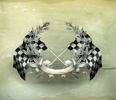 Wreath and Racing flags old-style vector