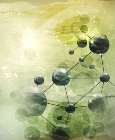 Photo for Background with molecules green, old-style vector - Royalty Free Image