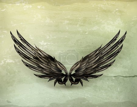 Illustration for Wings black old-style vector - Royalty Free Image