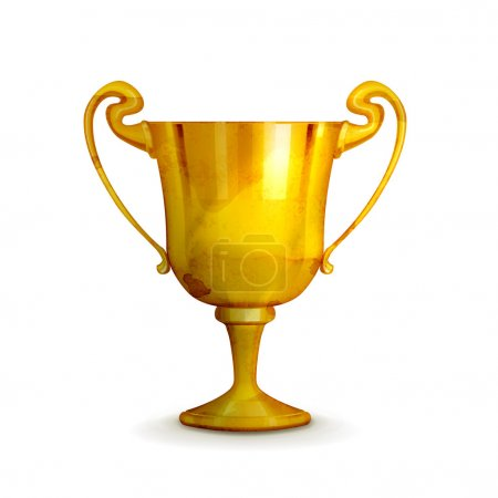Gold trophy, old-style vector isolated