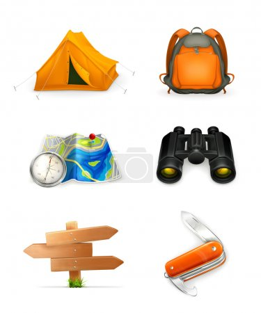 Illustration for Tourism icon set, vector - Royalty Free Image