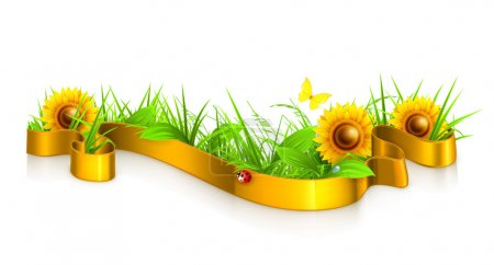 Illustration for Ribbon in the grass vector - Royalty Free Image