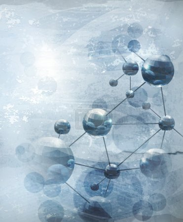 Background with molecules blue, old-style
