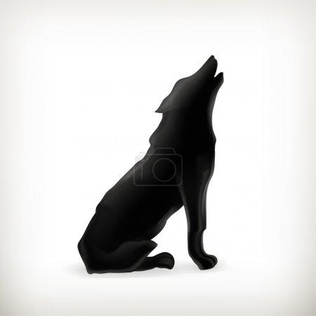 Illustration pour Silhouette de loup - image libre de droit