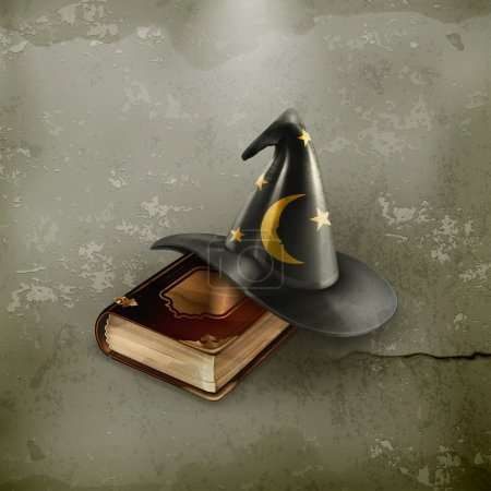 Illustration for Wizard hat and old book, old-style vector - Royalty Free Image