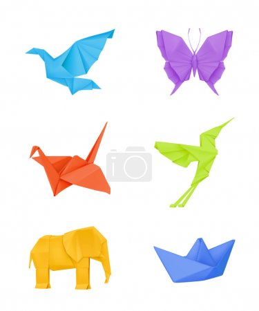 Origami vector set, multicolored...