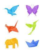 Origami vector set multicolored