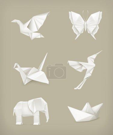Origami vector set, white...
