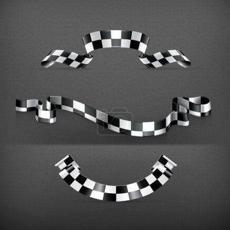 Checkered flags, set, vector...