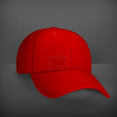 Illustration for Red baseball cap, vector - Royalty Free Image